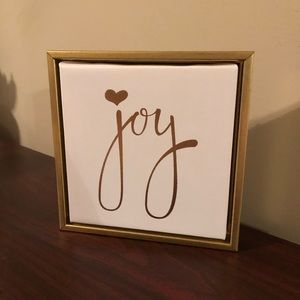"White and Gold ""Joy"" Framed Canvas"
